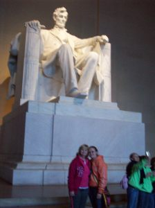 Olivia and Me in front of Abe Lincoln