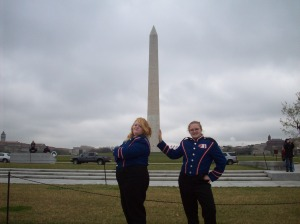 Olivia and Hannah in front of the Washington Memorial